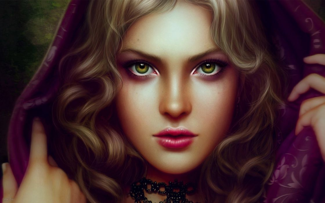Omar Diaz art artistic cg digital fantasy face yes scarf shawl blondes lips stare mood women females girls babes style sensual wallpaper