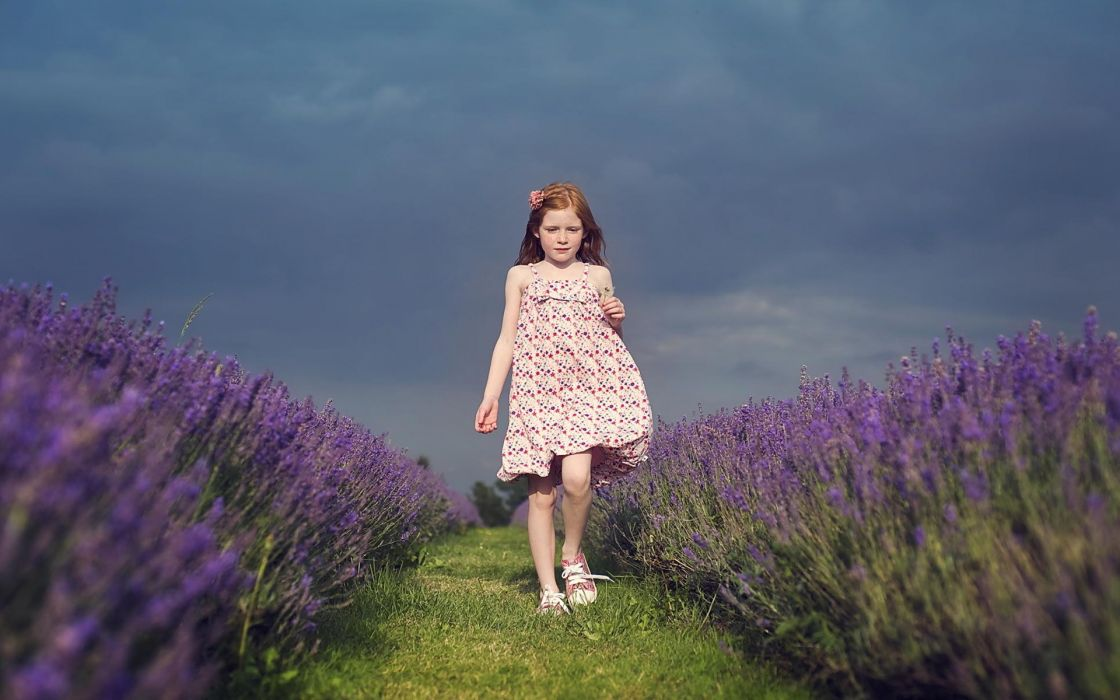 people children child kids girl females dress redhead landscapes flowers plants sky clouds grass wallpaper