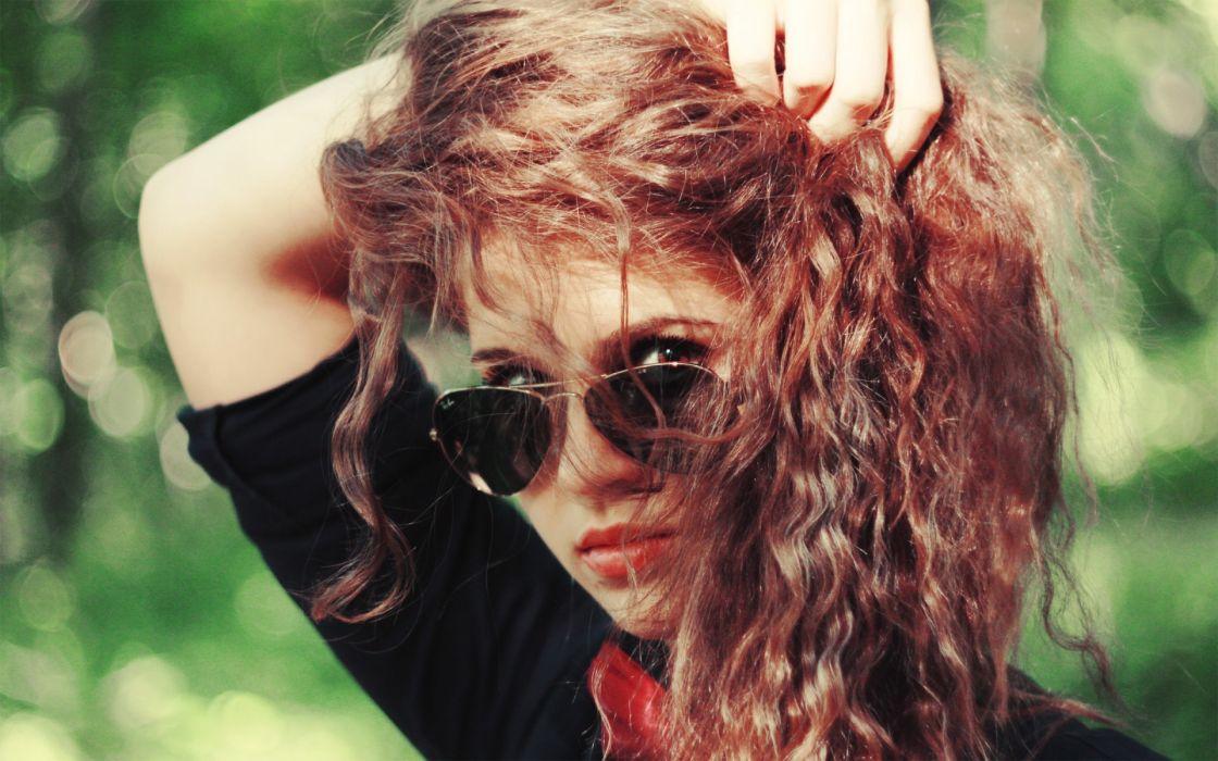 women females girls models babes brunette hair sensual sunglasses glasses face pose wallpaper