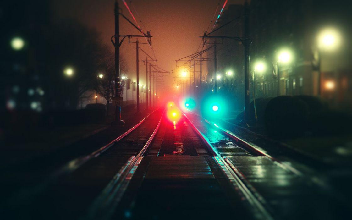vehicles trains rail roads tracks steel shine station platform night lights color wallpaper
