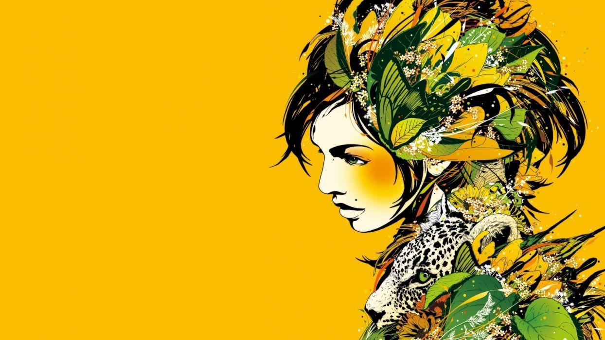 Dj Okawari Kaleidoscope dj disc jockey fantasy women females girls art artistic psychedelic flowers leaves animals leopard jaguar jungle color mood tropical wallpaper