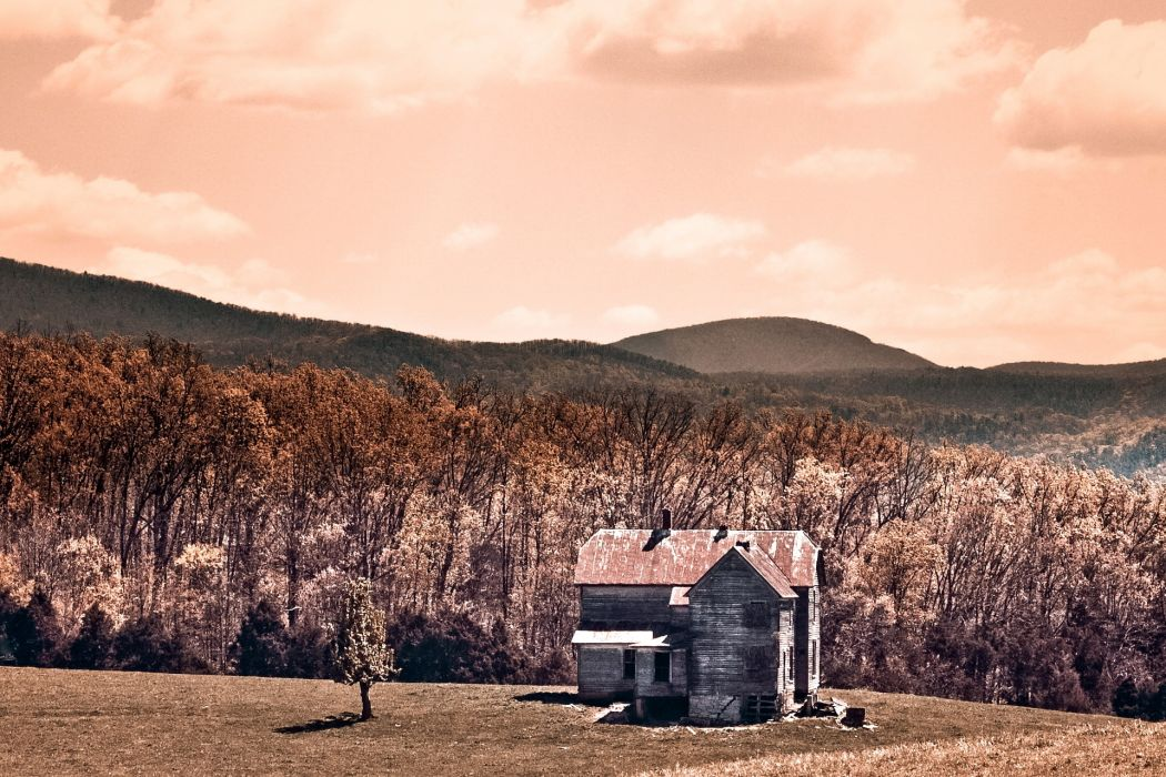 sepia ruins decay abandoned wreck architecture buildings houses fields farm trees forest leves autumn fall seasons hill mountains sky clouds sunlight wallpaper