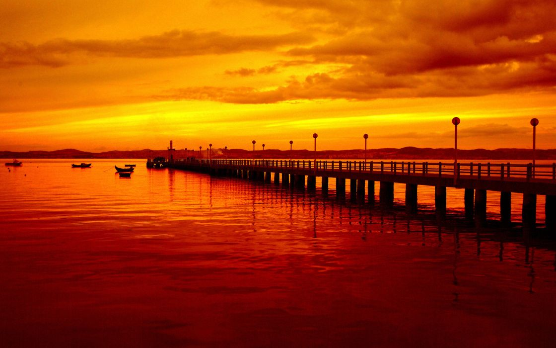world architecture pier dock jetty lamp lights bench bay sound ocean sea lakes reflection sky sunset sunrise color nature scenic wallpaper