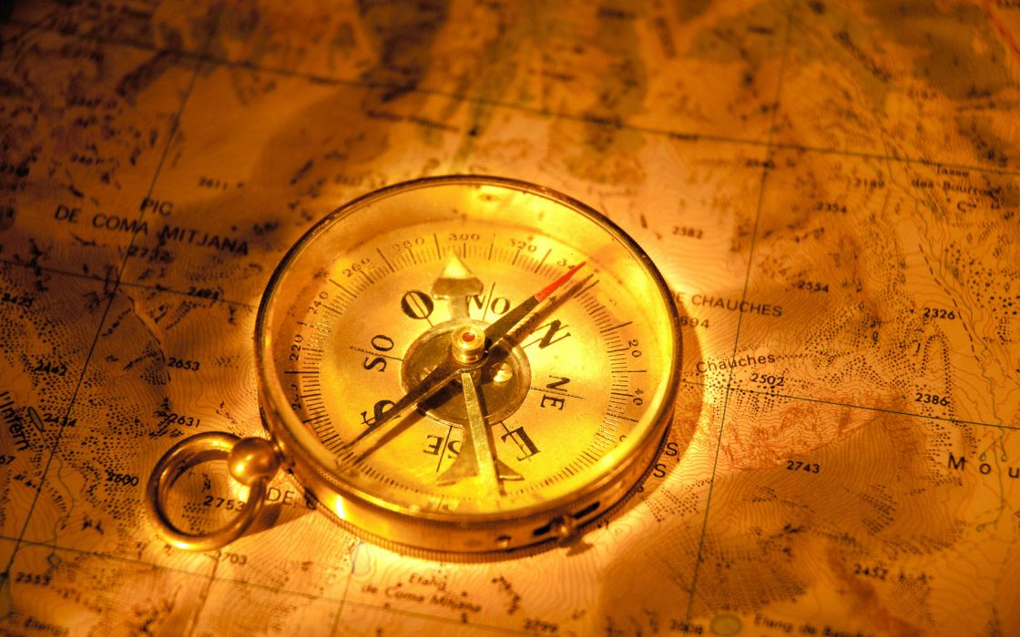 maps art artistic compass direction color gold dial letters numbers symbols needle bokeh fantasy pirates wallpaper