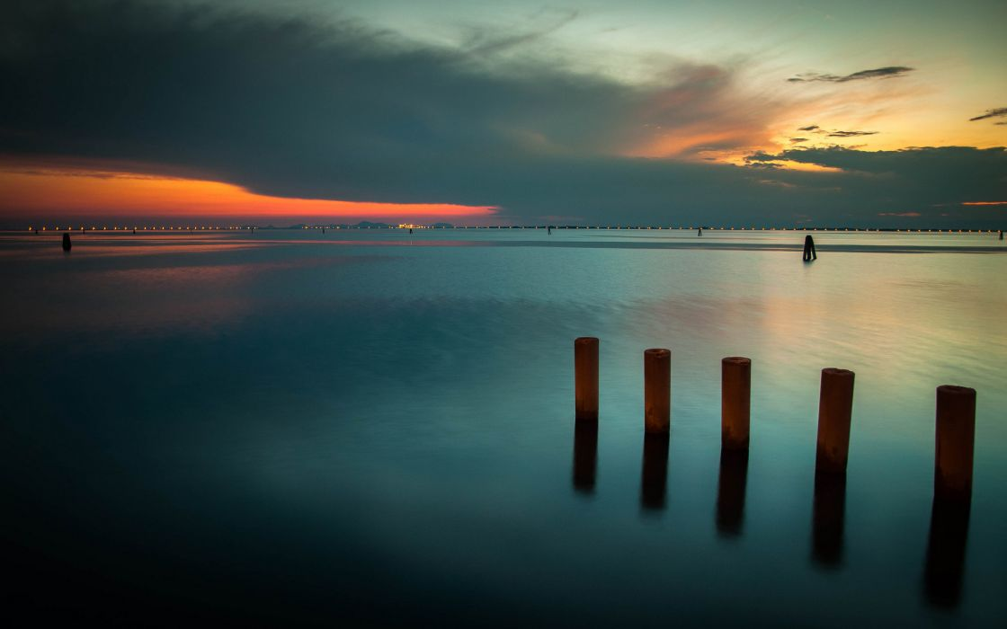 exposure nature water surface post jetty ocean sea lakes night lights shore land sky clouds sunset sunrise scenic wallpaper