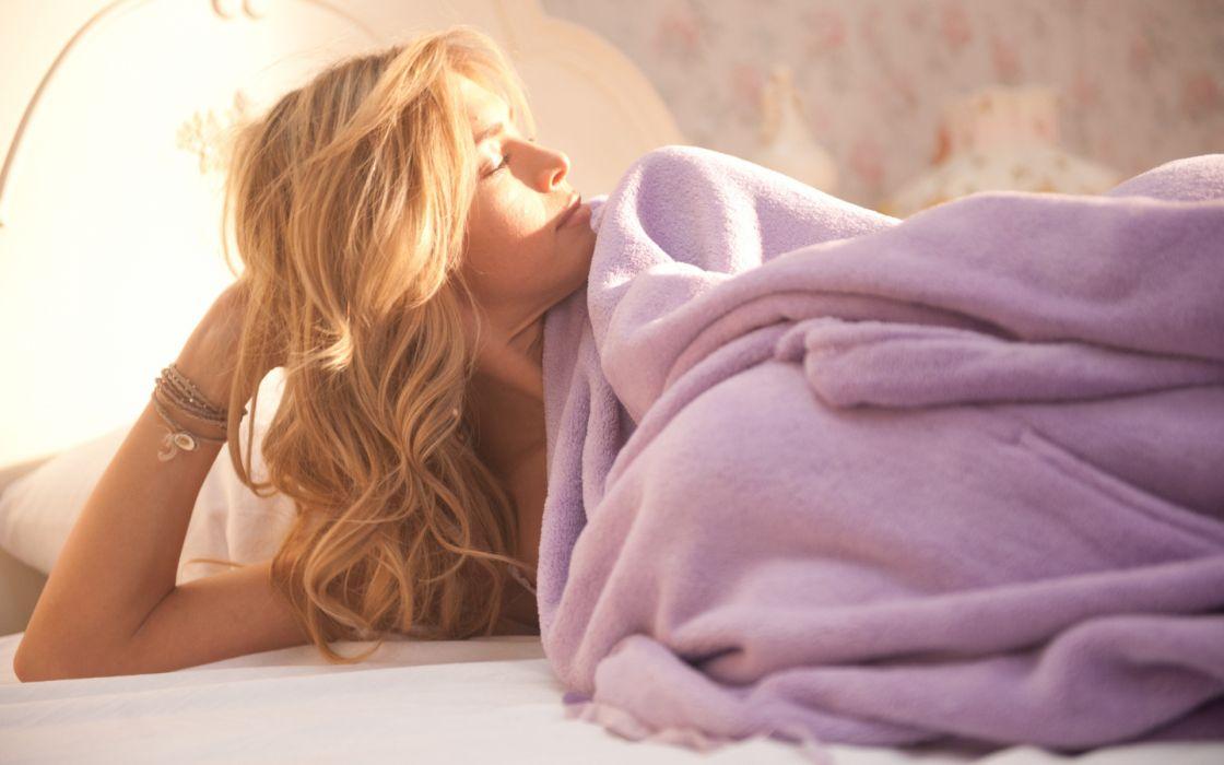 Vera Brezhneva women females girls models music blondes babes sexy sensual sunlight sleep bed wallpaper