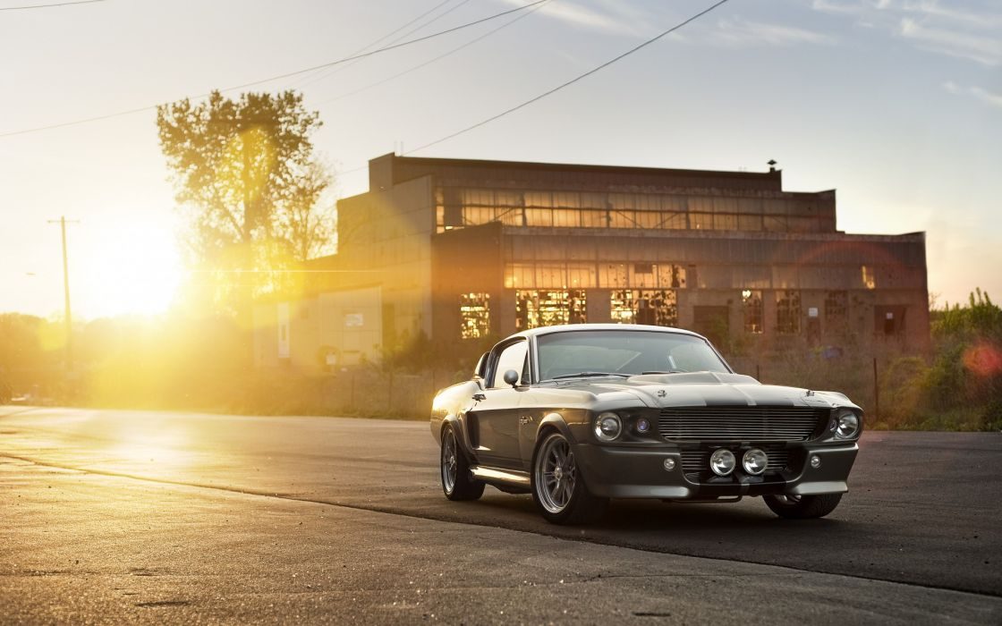 Ford Shelby GT 500 Eleanor mustang retro classic sunset sunrise architecture buildings wheels wallpaper