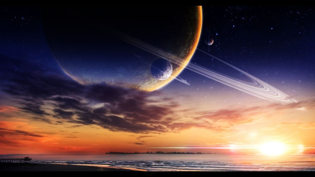 manipulation cg digital art artistic sci fi science fiction planets moons space sky clouds sunset sunrise stars dream beaches ocean sea waves color sun sand jetty pier dock architecture islands tropical wallpaper
