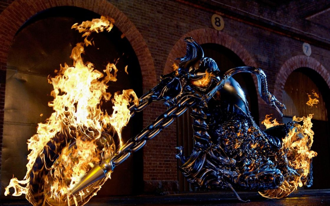 Ghost Rider movies dark fire flames vehicles chopper motorcycles motorbikes bike wheels chrome evil art artistic chain comics video games wallpaper
