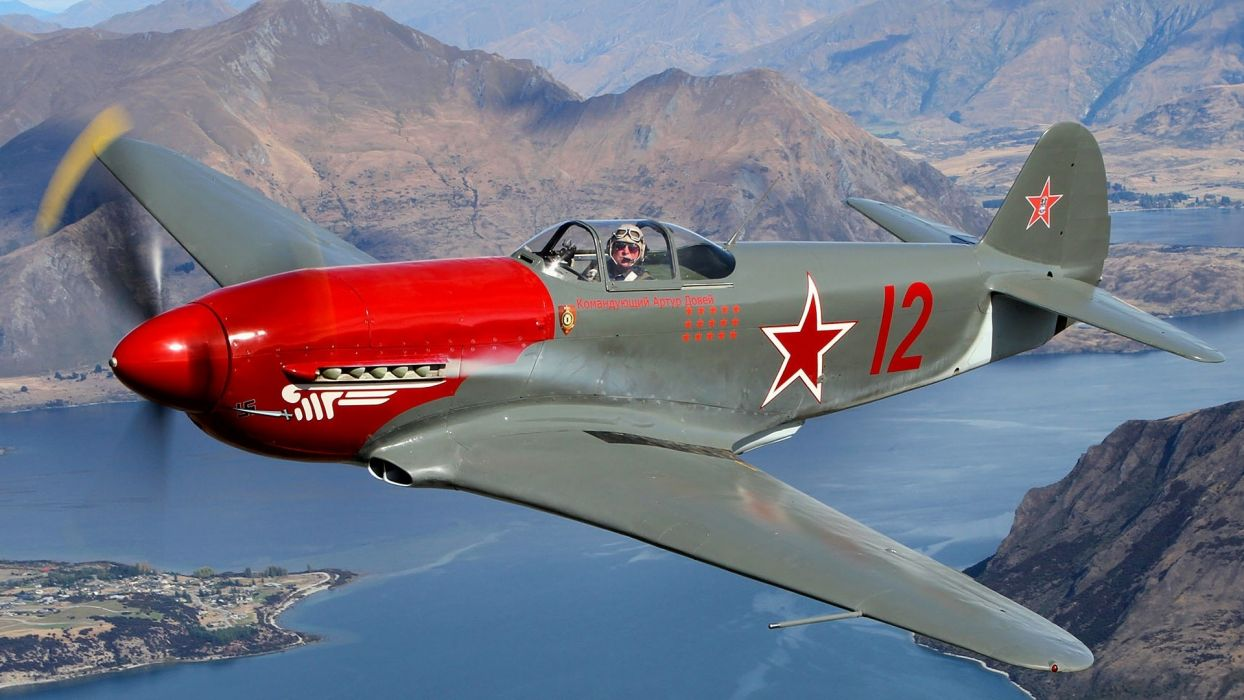 Yakovlev Yak-3 Soviet fighter aircraft World War II military airplane pilot people men males color contrast flight fly lakes rivers landscapes mountains wings wallpaper