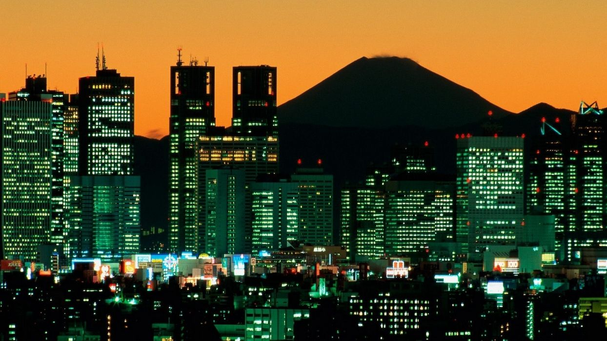 japan mount fuji tokyo world cities architecture buildings skyscraper window lights night dusk mountains volcano sunset sunrise sky wallpaper