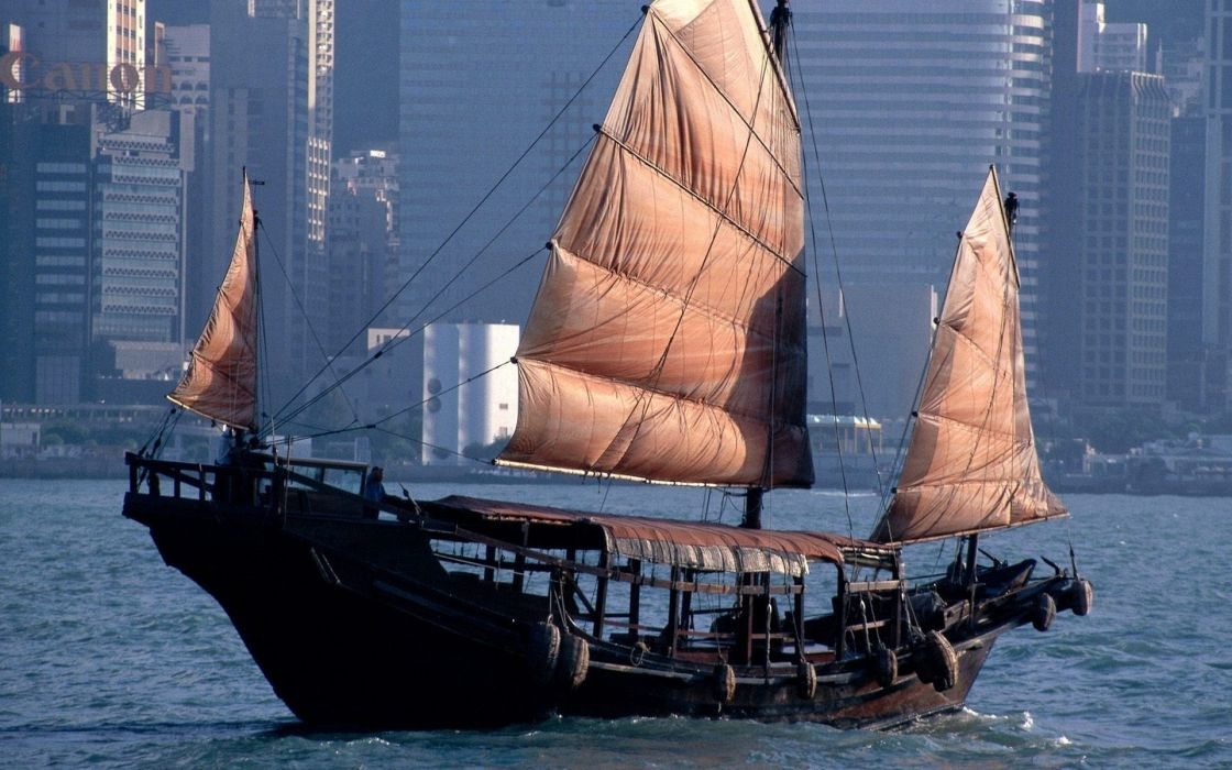 chinese junk Hong Kong Harbor vehicles boats ships water sailing wood architecture world buildings skyscraper wallpaper