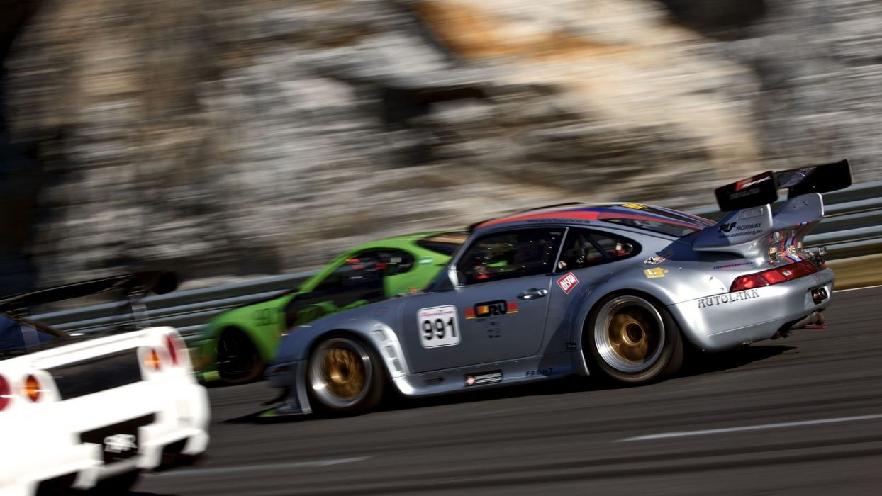 Porsche Race Car Motion Blur racing track roads wheels wallpaper