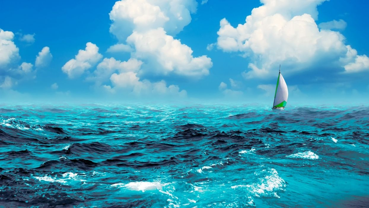 manipulation cg digital art artistic nature ocean sea waves swell water sky clouds sailing sports boat ship sailboat wallpaper