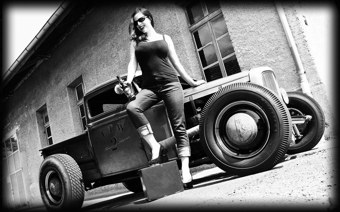 vehicles cars auto hot rod rat classic retro old wheels black white architecture buildings brick women females girls babes model sexy sensual brunette wallpaper