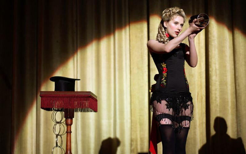 The Prestige Johansson Blonde actress celebrit women females girls babes sexy sensual magic lingerie stockings hose corsett legs panties wallpaper