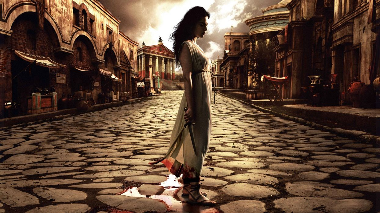 Rome Brunette Knife Blood series television history cobble stones architecture buildings manipulation cg digital weapons women females girls babes actress brunette clouds wallpaper