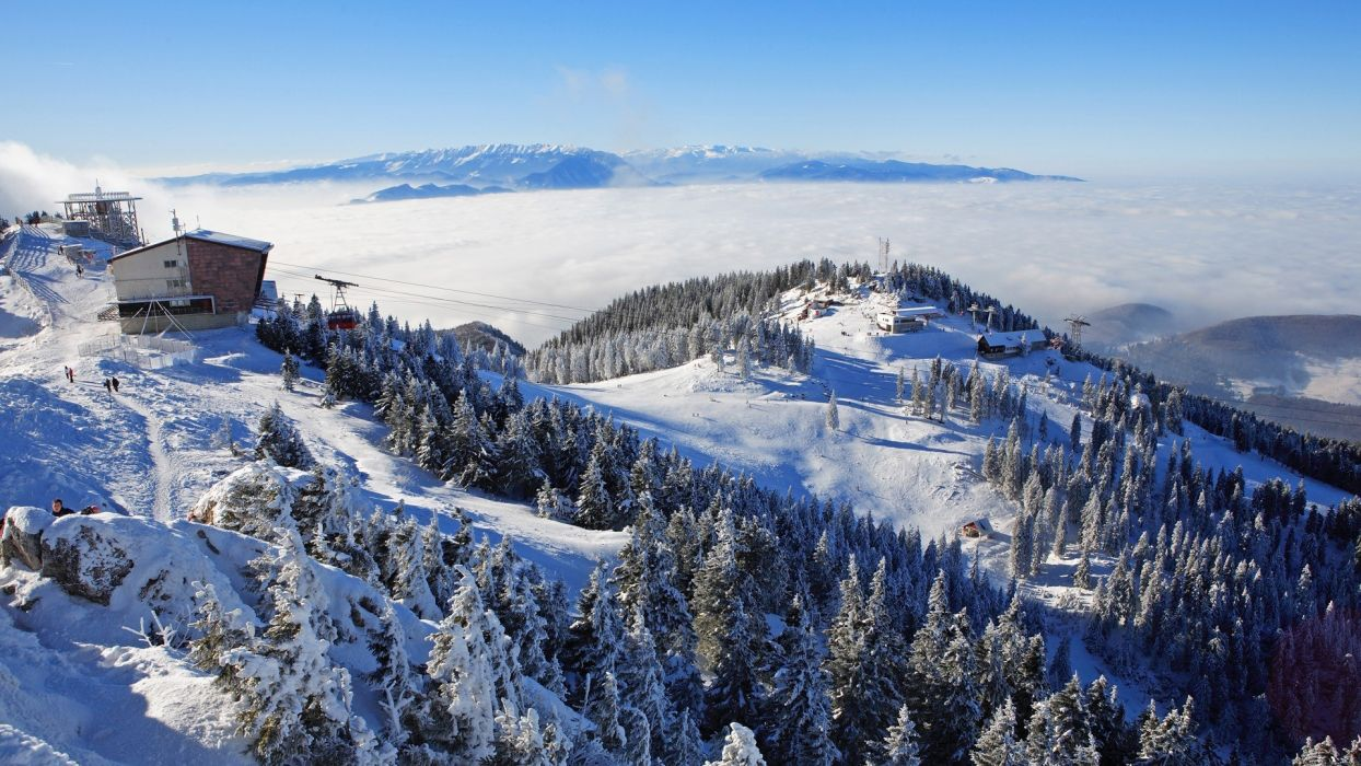 nature landscapes mountains ski resort tram lift wires vehicles trees forest winter snow seasons sky clouds scenic fog wallpaper
