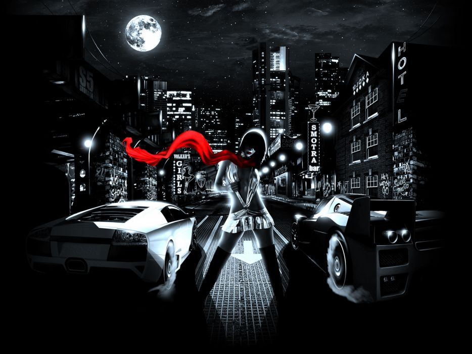 dark vehicles cars tuning racing race roads street cities architecture night lights sky moon stars clouds art artistic women females girls babes sexy sensual scarf color red legs situation wallpaper