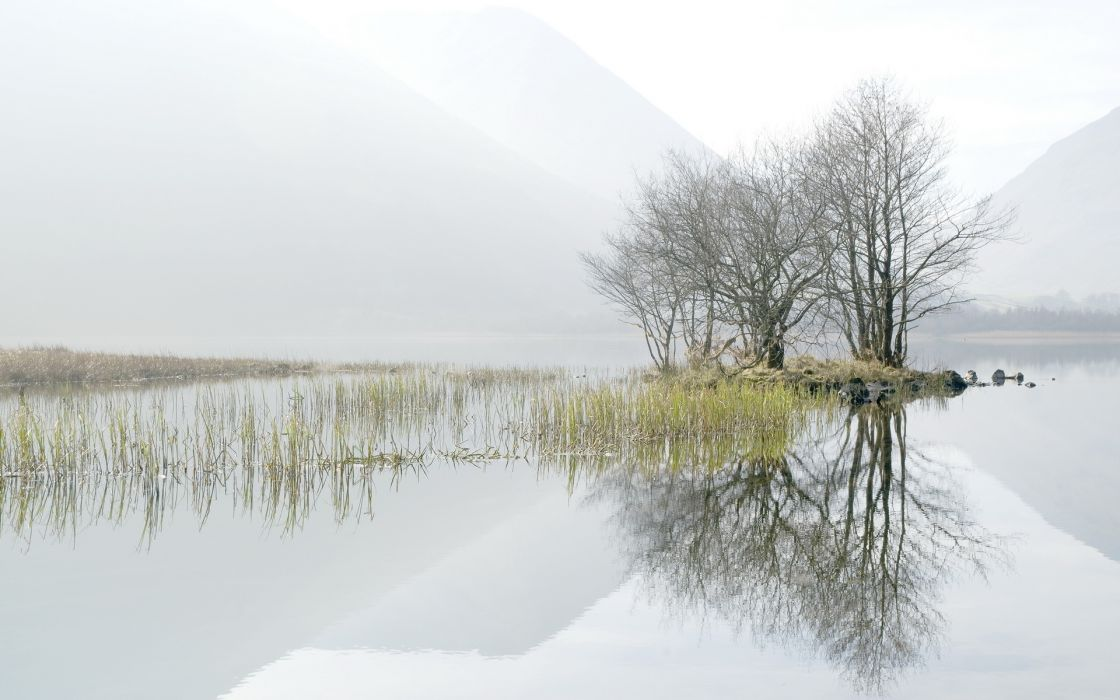 nature lakes water reflection reeds grass landscapes trees fog mist haze mountains sky clouds wallpaper