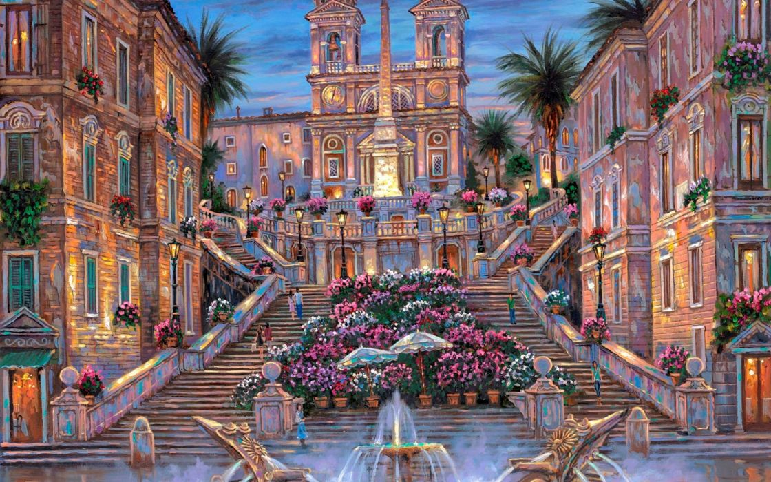 Robert Finale Rome Spanish Steps paintings detail place italy flowers architecture buildings cathedral church color art artistic sky clouds stairs window statue trees fountain water wallpaper