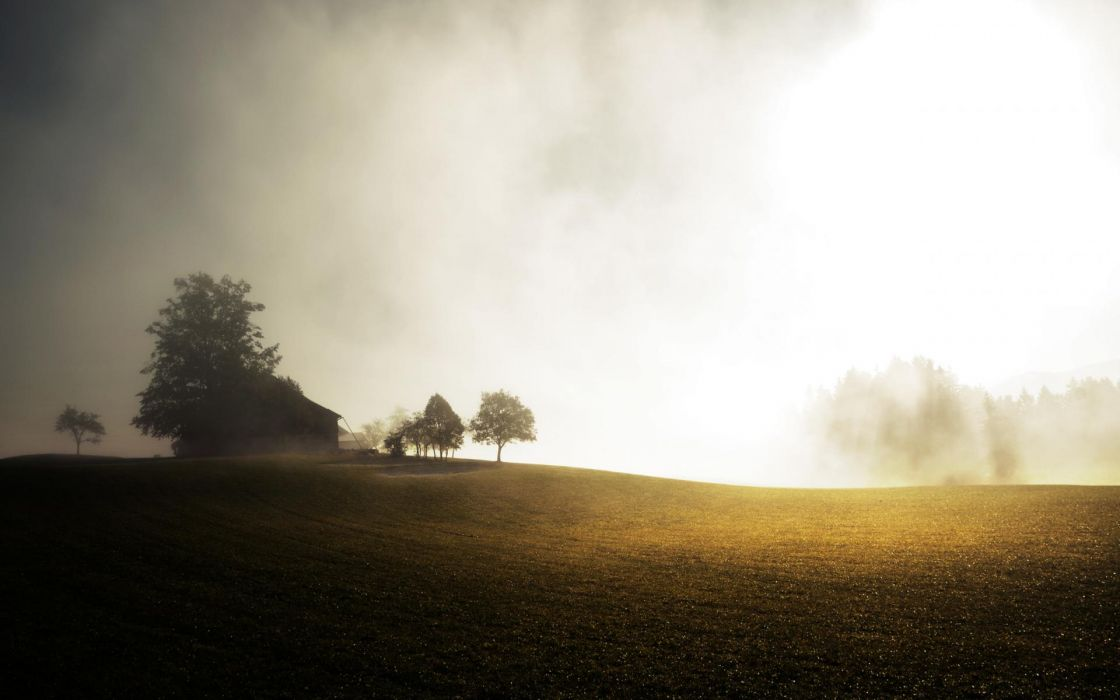 world architecture houses farm country trees nature landscapes fields grass fog mist haze sky sunlight mood wallpaper