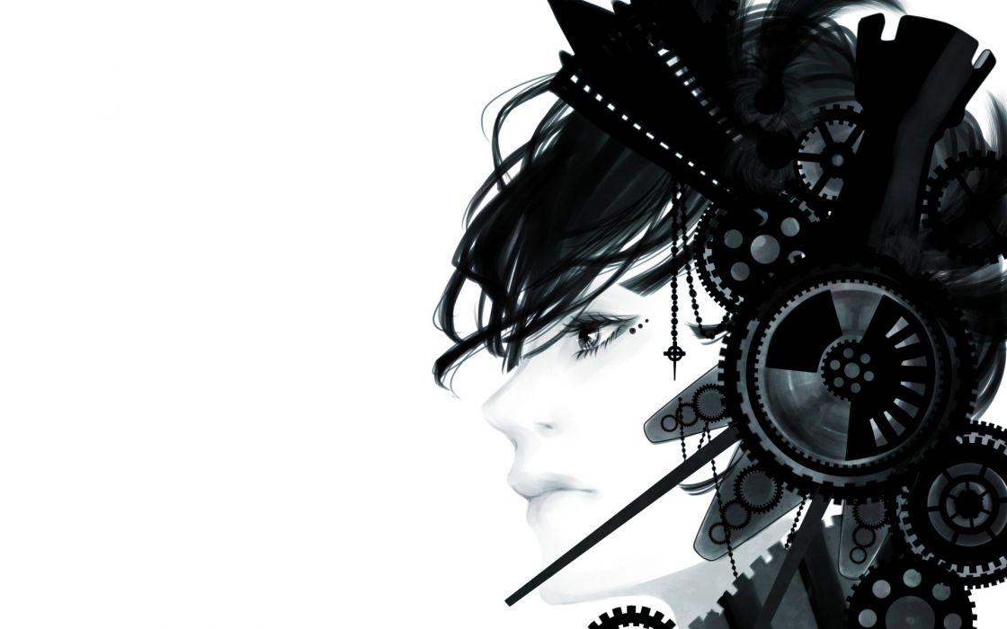 anime manga white bright headphones sci fi science fiction mech cyborg gothic women females girls babes face eyes headset wallpaper