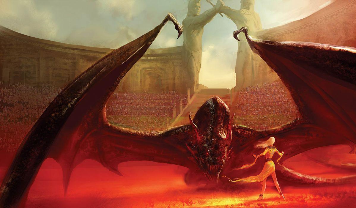 marc simonetti Song of Ice and Fire Daenerys Targaryen Drogon books fantasy dragon warrior women females girls art artistic cg digital wings stadium Coliseum crowd people wallpaper