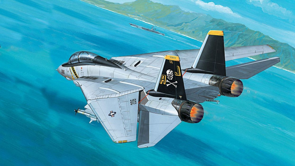 F-14 art artistic paintings print military wings jet fighter weapon fire flames ocean sea landscapes islands ships vehicles aircraft airplane flight fly wallpaper