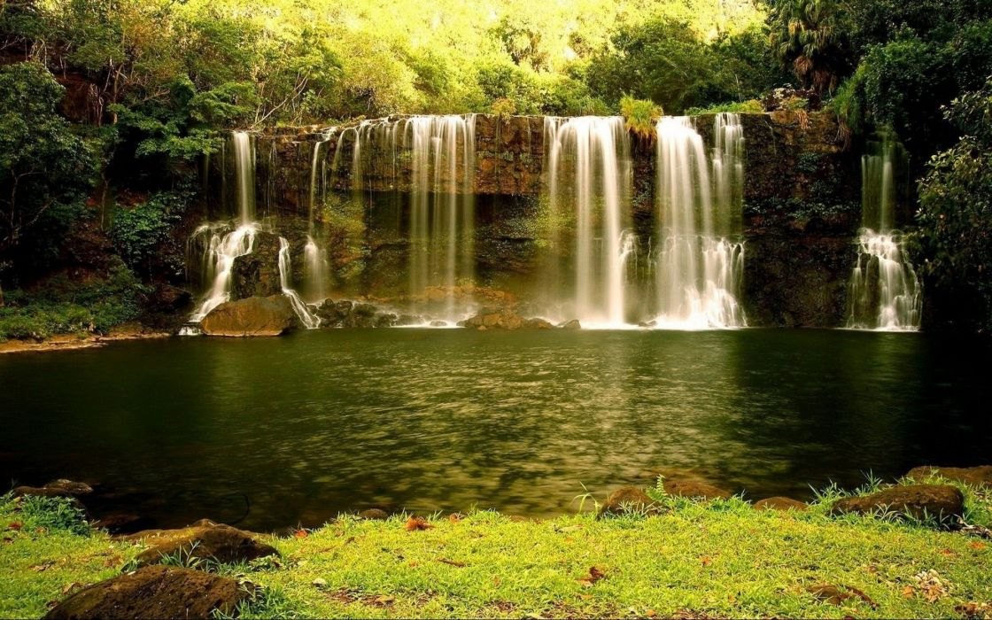 nature landscapes waterfall cliff rock stone rivers stream spray drops water reflection bank shore beaches grass trees forest jungle sunlight plants wallpaper