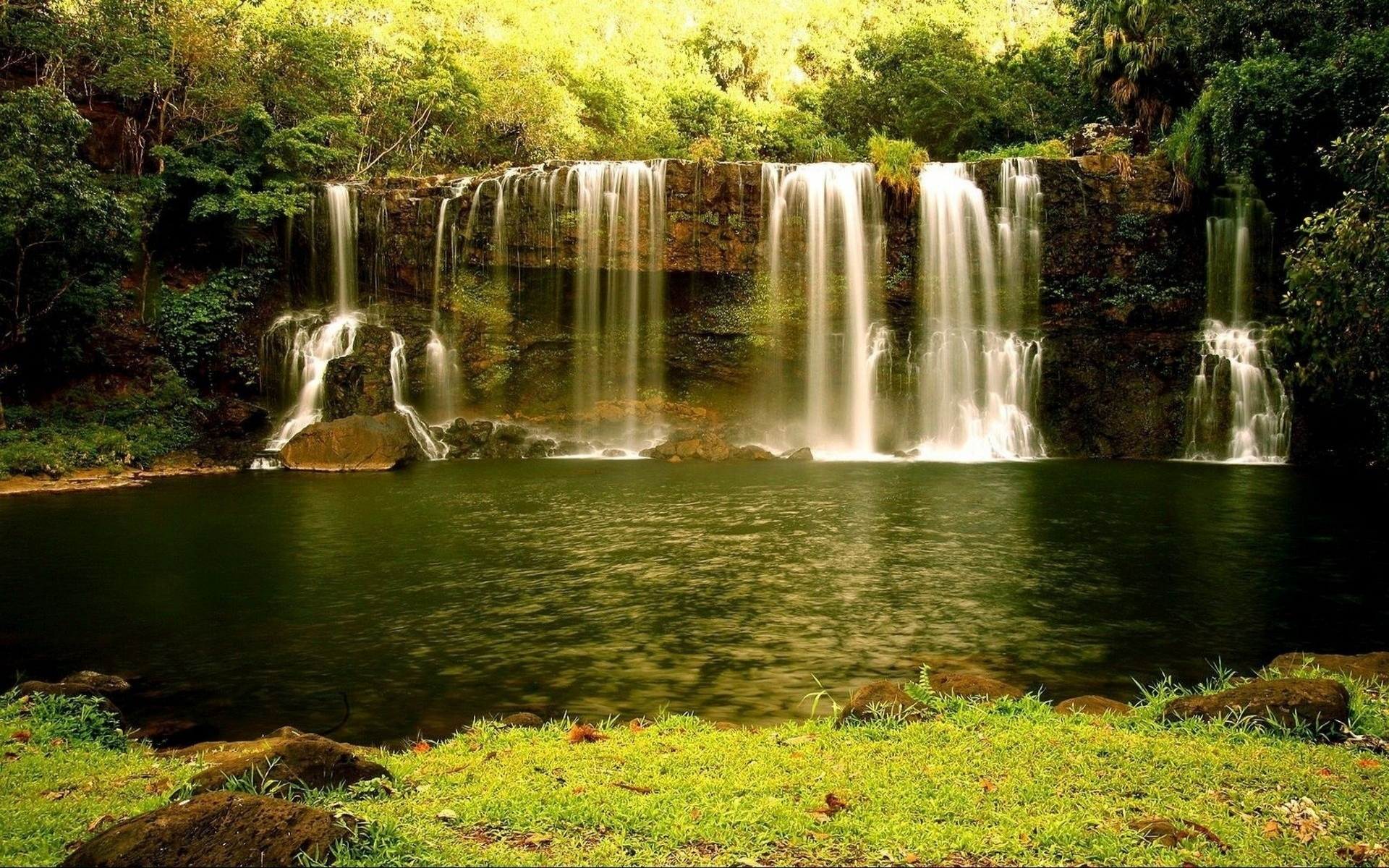 Nature Landscapes Waterfall Cliff Rock Stone Rivers Stream