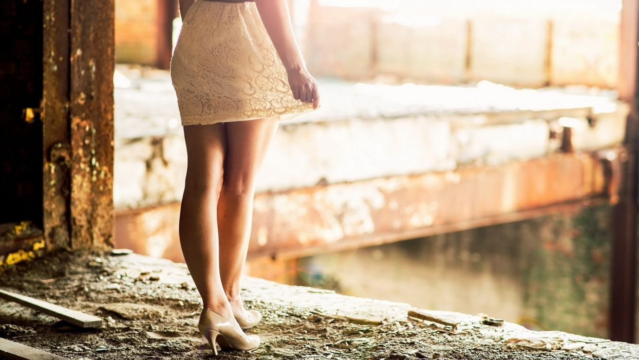 people women females girls babes legs sexy sensual dress style fashion architecture buildings ruin decay wallpaper