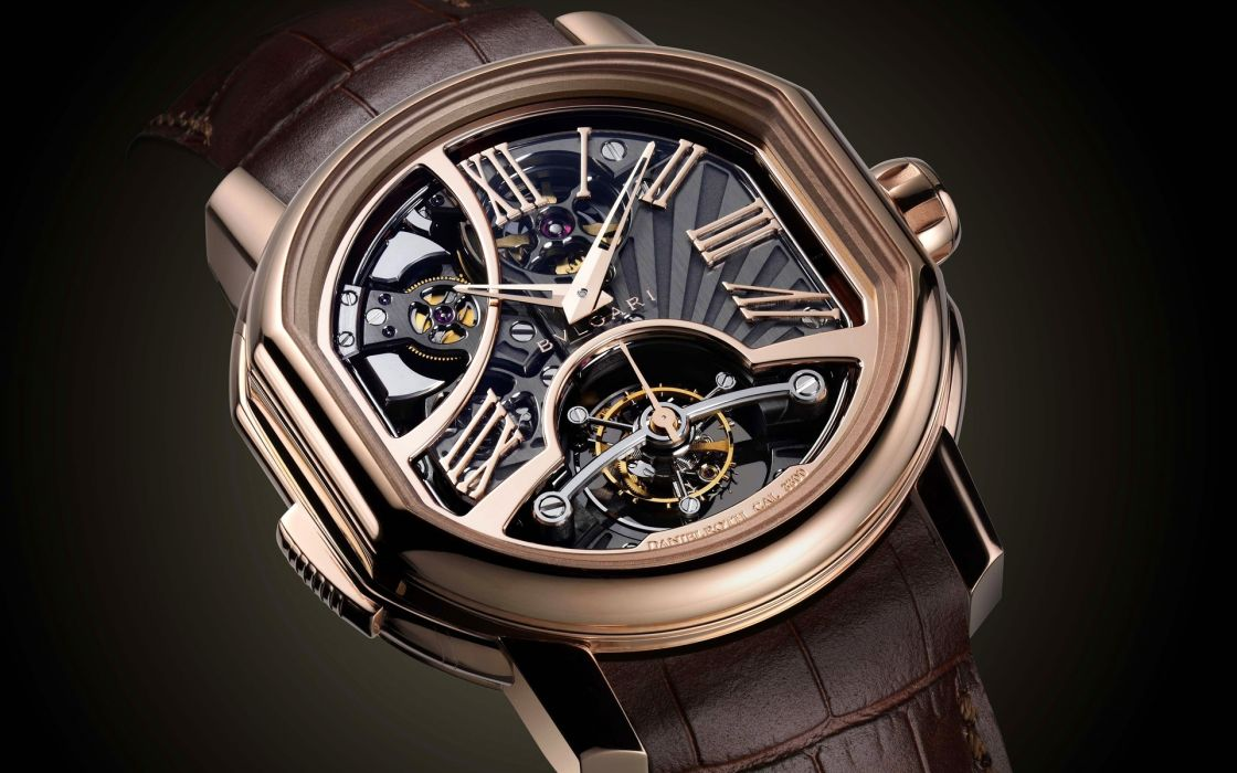 Bvlgari watch gold mech gears hands pulley numbers numeral springs knob glass tech clock wallpaper