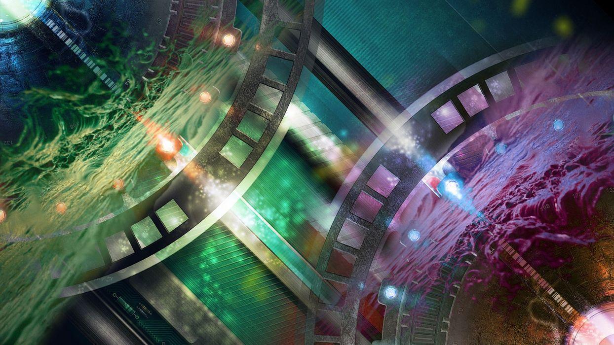gears sci fi science fiction art artistic tech mech color dial watch clock circuit  wallpaper
