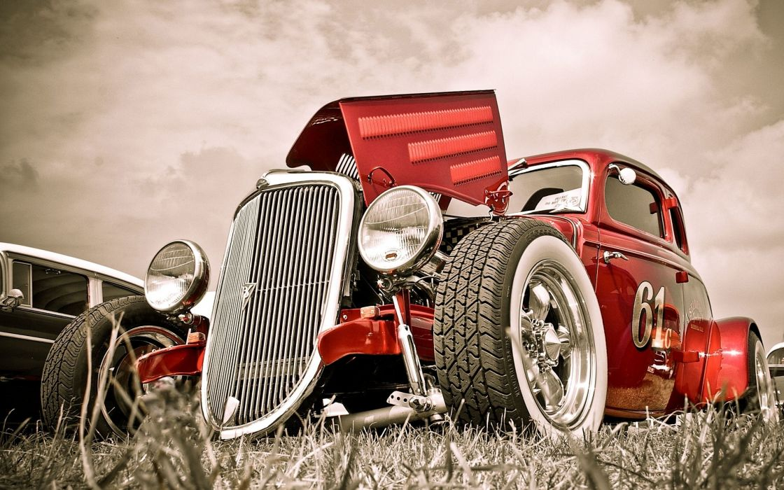 rat rod red wheels vehicles cars auto hdr hot rod rat classic retro old stance candy