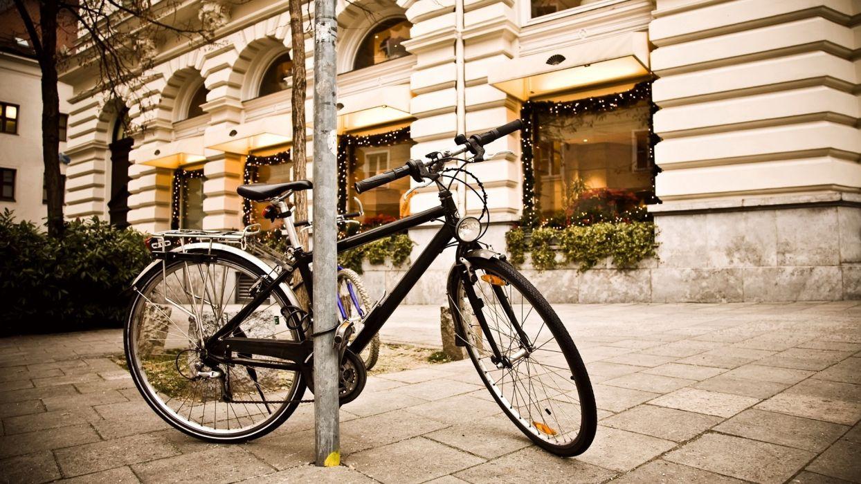 Vehicles bicycle bike transpo wheels spokes architecture buildings sidewalk window wallpaper