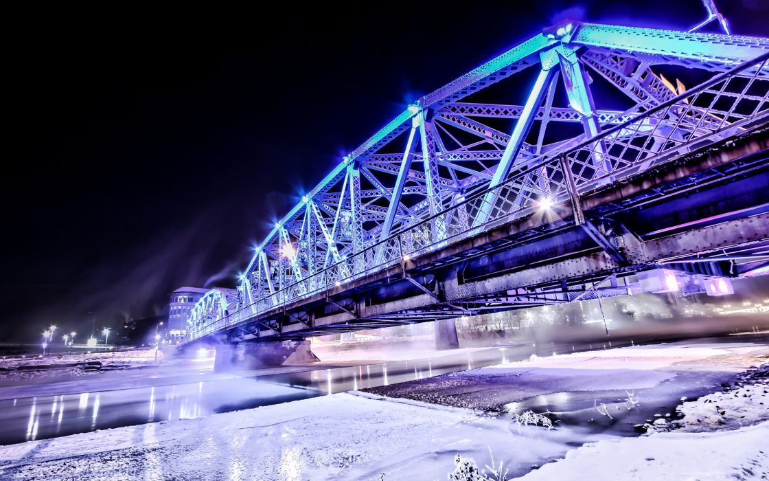 world architecture steel metal bridges roads structure lights purple blue night bright contrast rivers canal water winter snow cold seasons ice freezing wallpaper