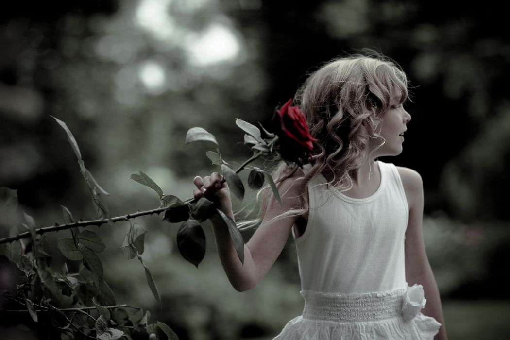 people children child female girl dress brunette cute nature flowers plants roses beautiful park garden trees mood emotion wallpaper