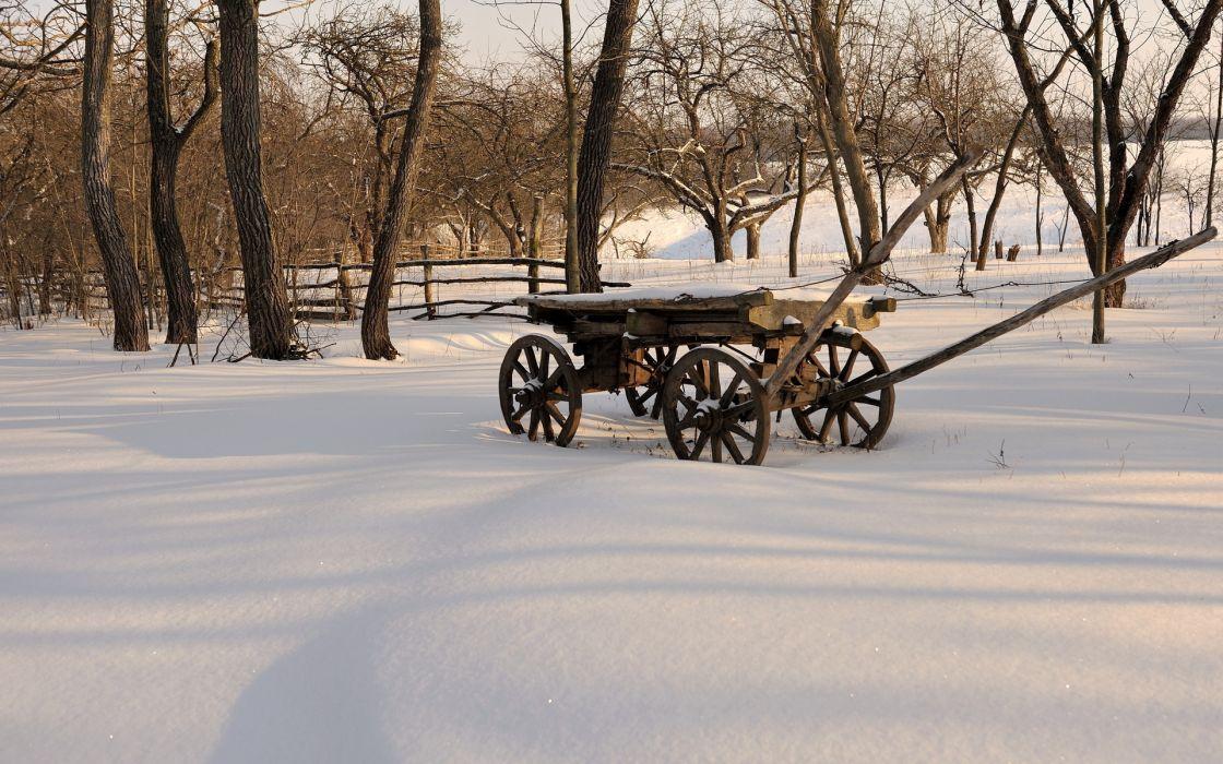 Nature Landscapes Farm Fields Trees Fence Rustic Retro Old Antique Winter Snow Seasons Wallpaper