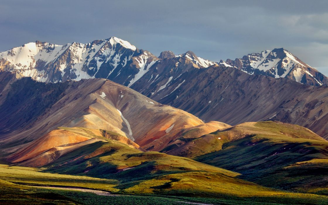 nature landscapes hills mountains snow peaks sky clouds rivers scenic view wallpaper