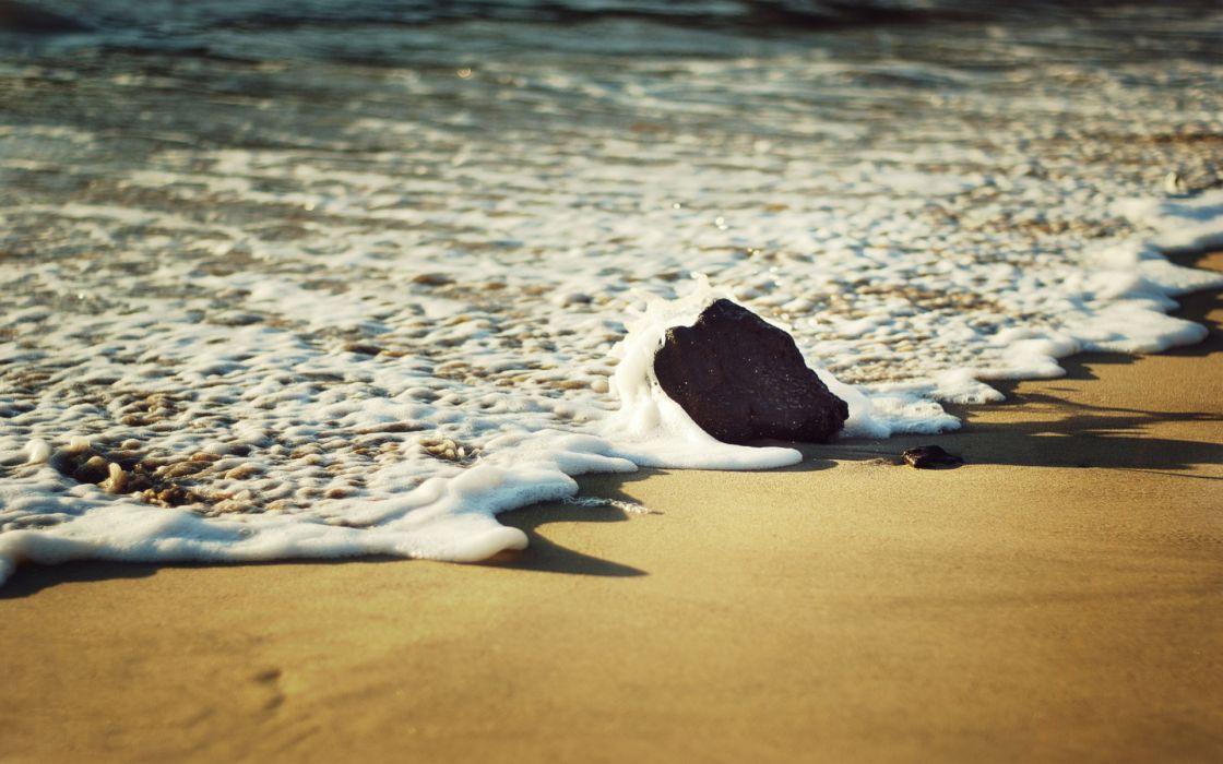 nature landscapes beaches sand waves foam water ocean sea rock bubbles wallpaper