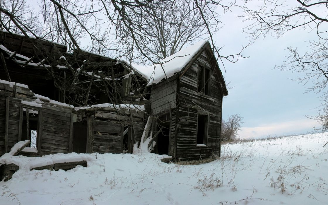 world architecture houses buildings decay ruin retro old wood window antique nature landscapes fields farm trees winter snow seasons wallpaper