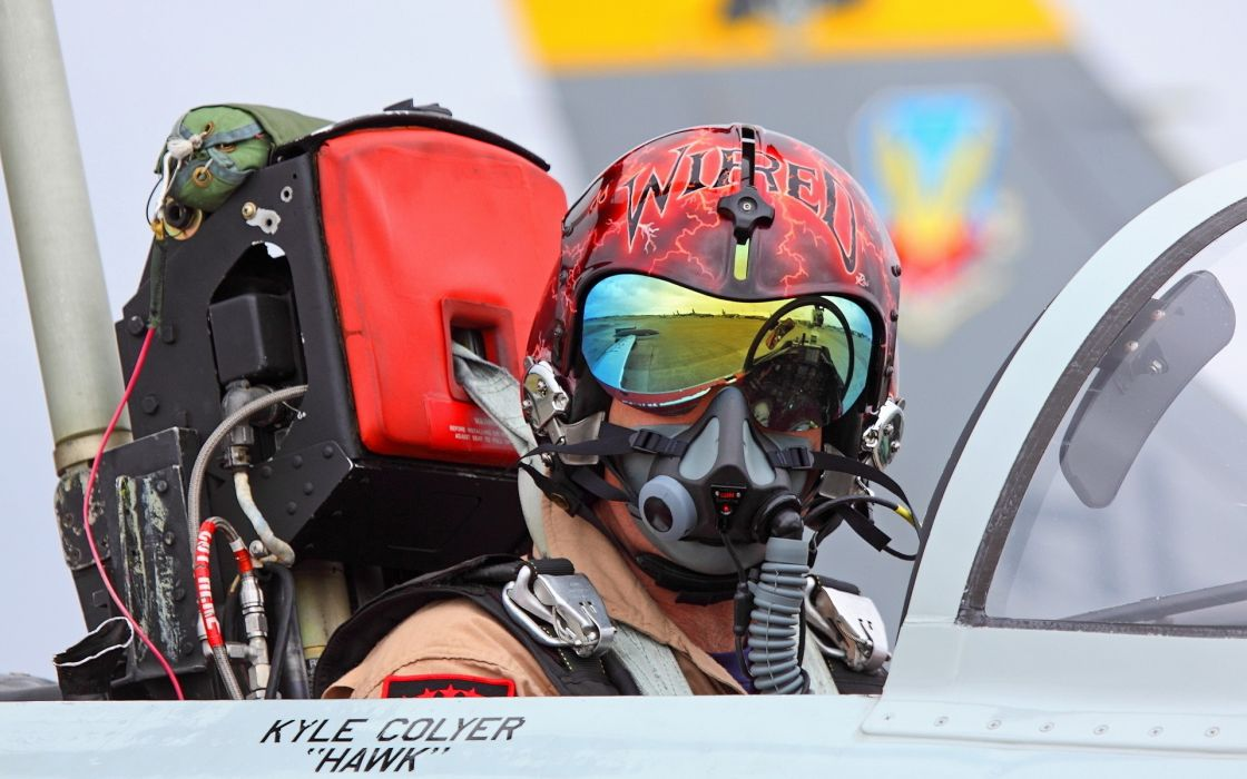 vehicles aircrafts airplane jet fighter weapons people men males boys pilot air forse helmet soldier warrior glasses goggles mask tech mech wallpaper