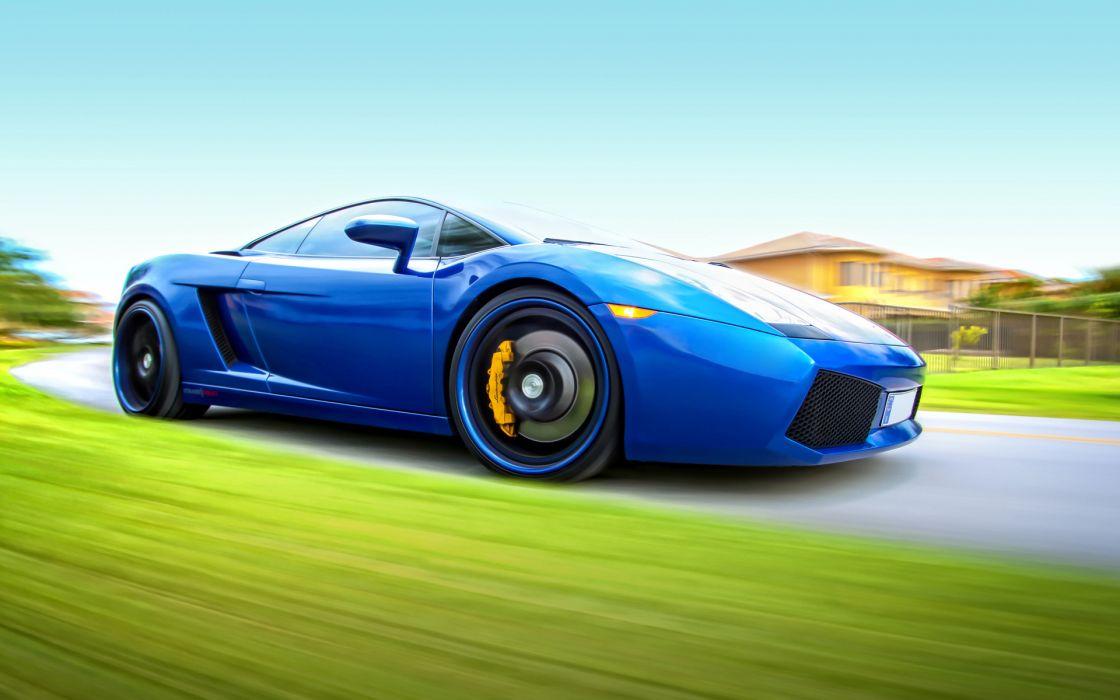 lamborghini vehicles cars auto supercar exotic blue motion wheels roads street wallpaper