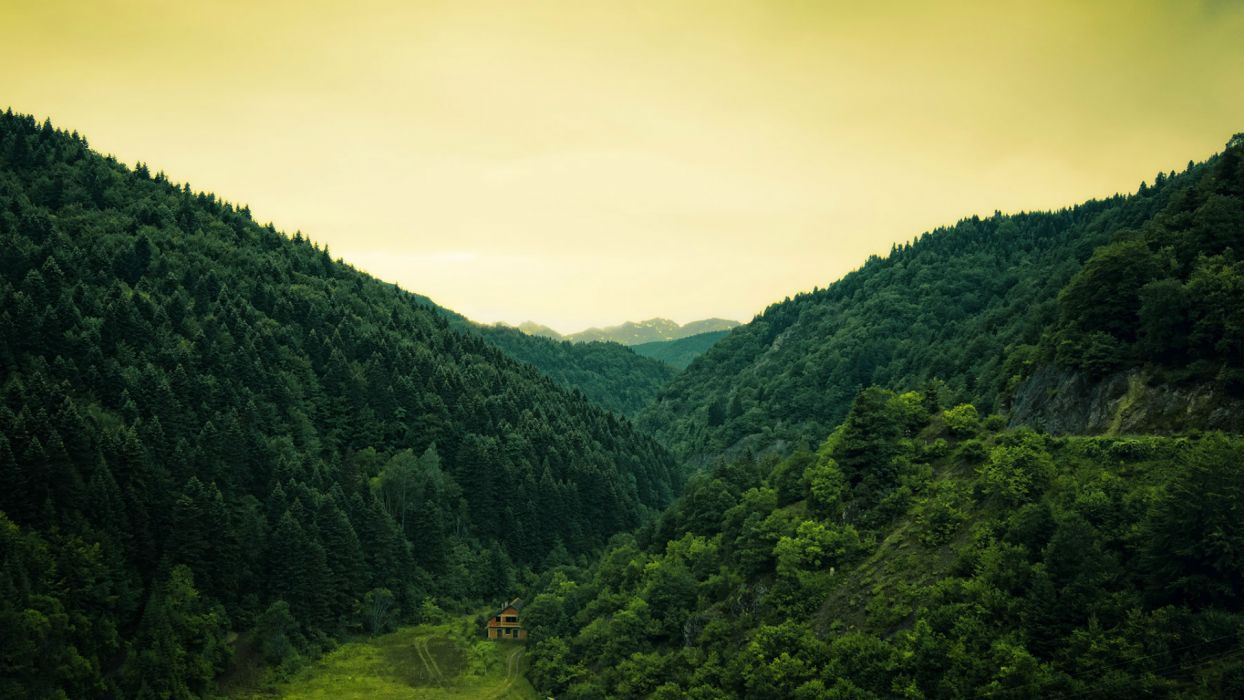 nature mountains trees forest valley green sky clouds world architecture houses buildings cabin wallpaper