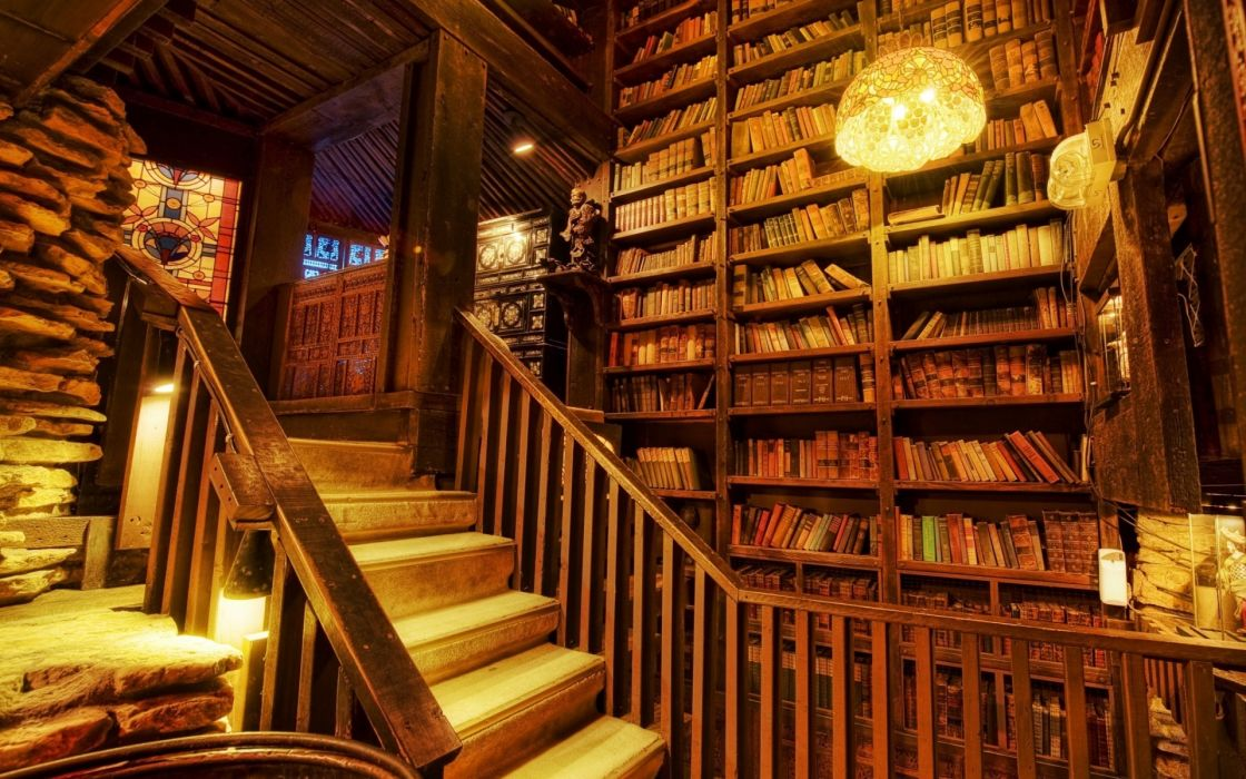 world architecture room library wood retro cabin resort hdr books stairs rustic stone buildings lamps lights rail wallpaper