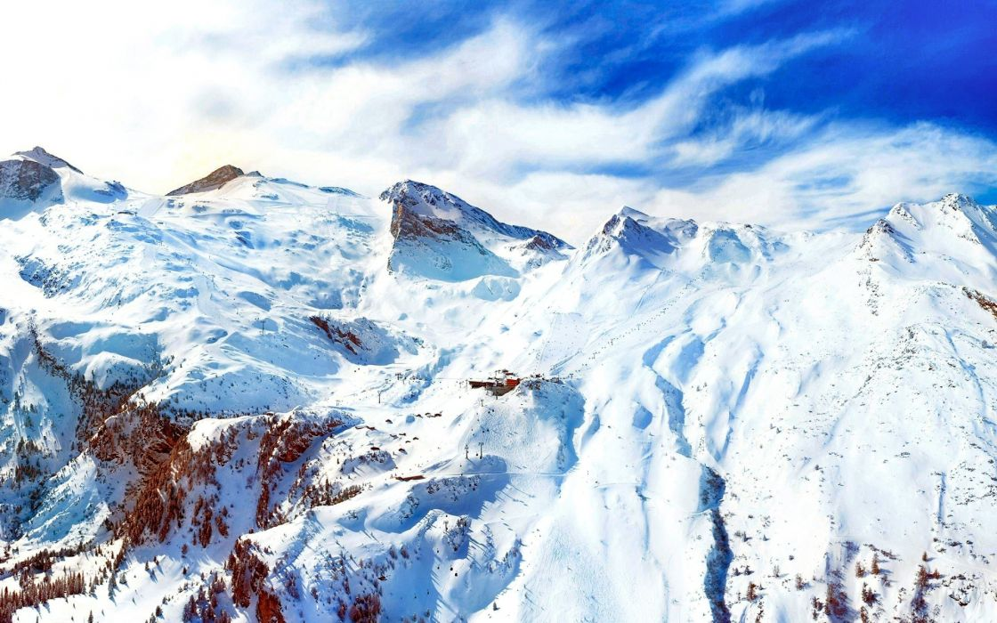 nature landscapes mountains snow peaks sky clouds cold sports resort ski architecture lift tram buildings lodge wallpaper