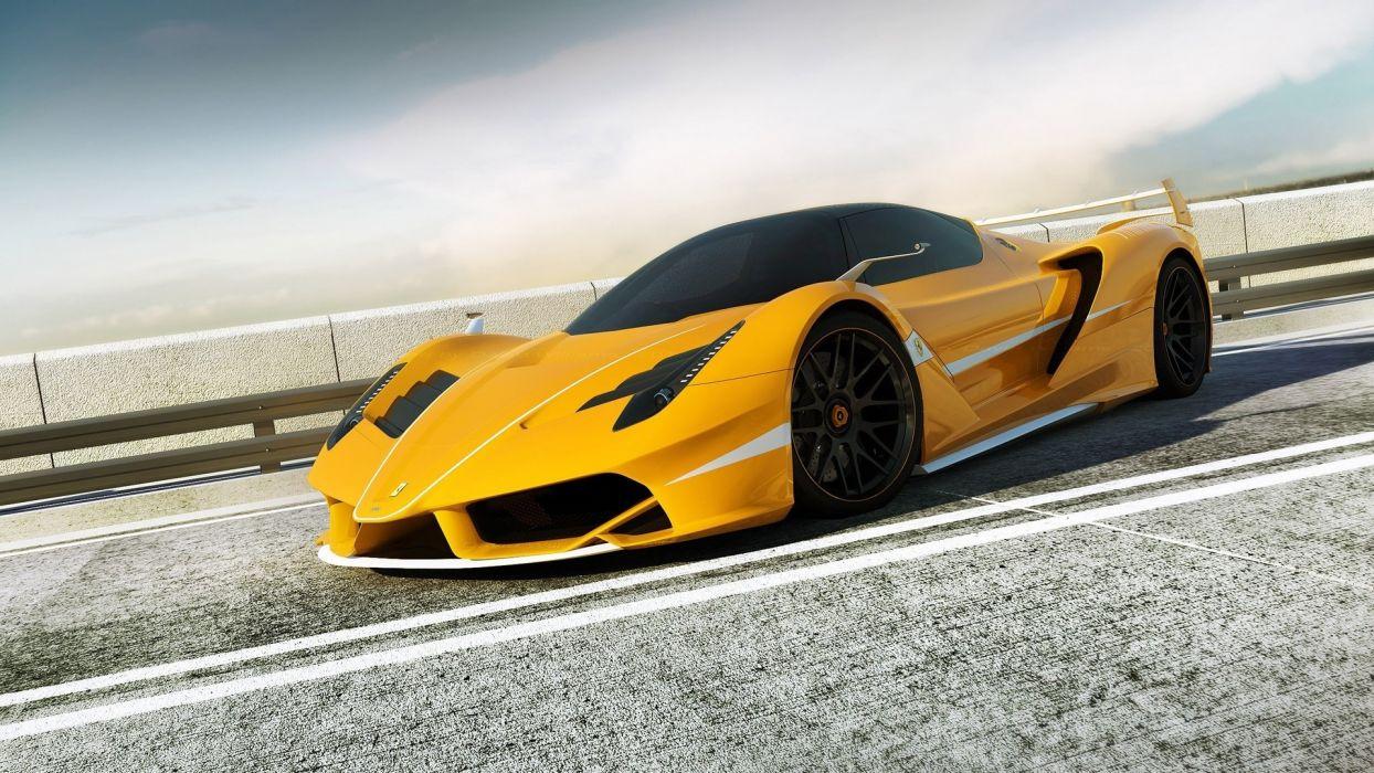 Ferrari vehicles cars auto exotic supercar roads race track fence yellow wheels wallpaper