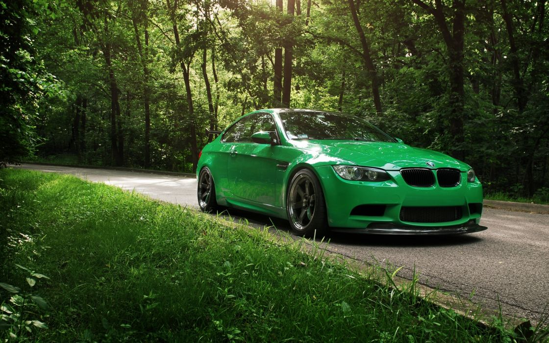 bmw vehicles cars auto tuning wheels roads trees forest nature grass green stance wallpaper
