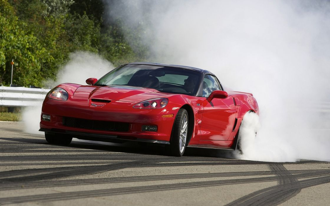 vehicles cars auto chevrolet chevy corvette red roads track burnout smoke wallpaper